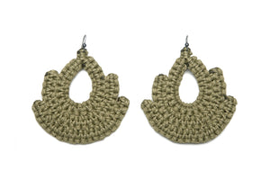 Handmade olive woven earrings bell shape with tear shaped hole in middle made with recycled cotton