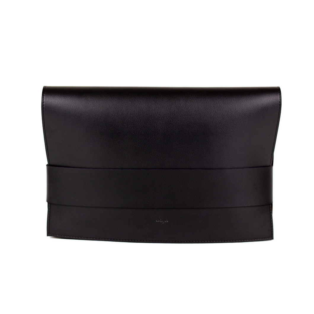 Black vegan leather clutch with detachable shoulder strap