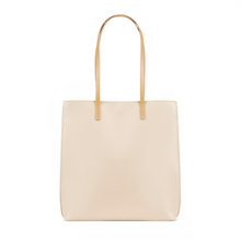 Load image into Gallery viewer, Beige vegan leather tote bag with Grey colored lining and one internal pocket.