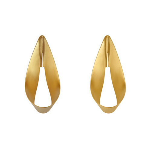 Statement voluminous sterling silver hoops, available with 24K gold plating with matte finish.