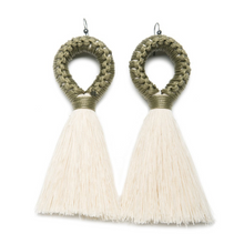 Load image into Gallery viewer, Handmade earrings with olive loop and white tassel detail made from recycled cotton