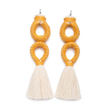 Load image into Gallery viewer, Handmade earrings with double yellow loop and white tassel detail made from recycled cotton