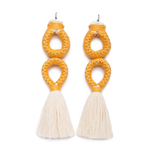 Handmade earrings with double yellow loop and white tassel detail made from recycled cotton