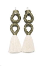 Load image into Gallery viewer, Handmade earrings with double olive loop and white tassel detail made from recycled cotton