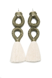 Handmade earrings with double olive loop and white tassel detail made from recycled cotton