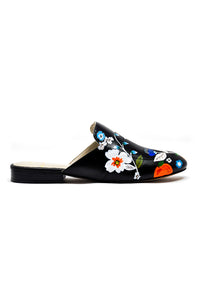 Black hand-painted slippers and mule with orange and flower detail