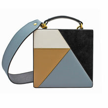 Load image into Gallery viewer, Bold, versatile square handbag with internal suede lining with external handle attachments. Crafted from grained leather with overlapping figures. Single adjustable shoulder strap.
