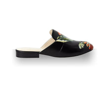 Load image into Gallery viewer, Black hand-painted slippers and mule with olive tones and orange tropical flower detail