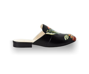 Black hand-painted slippers and mule with olive tones and orange tropical flower detail