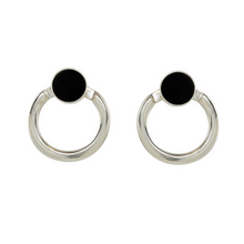 Load image into Gallery viewer, Handcrafted sterling silver earrings with rich jade black facade and back hoop. Can be worn as studs.