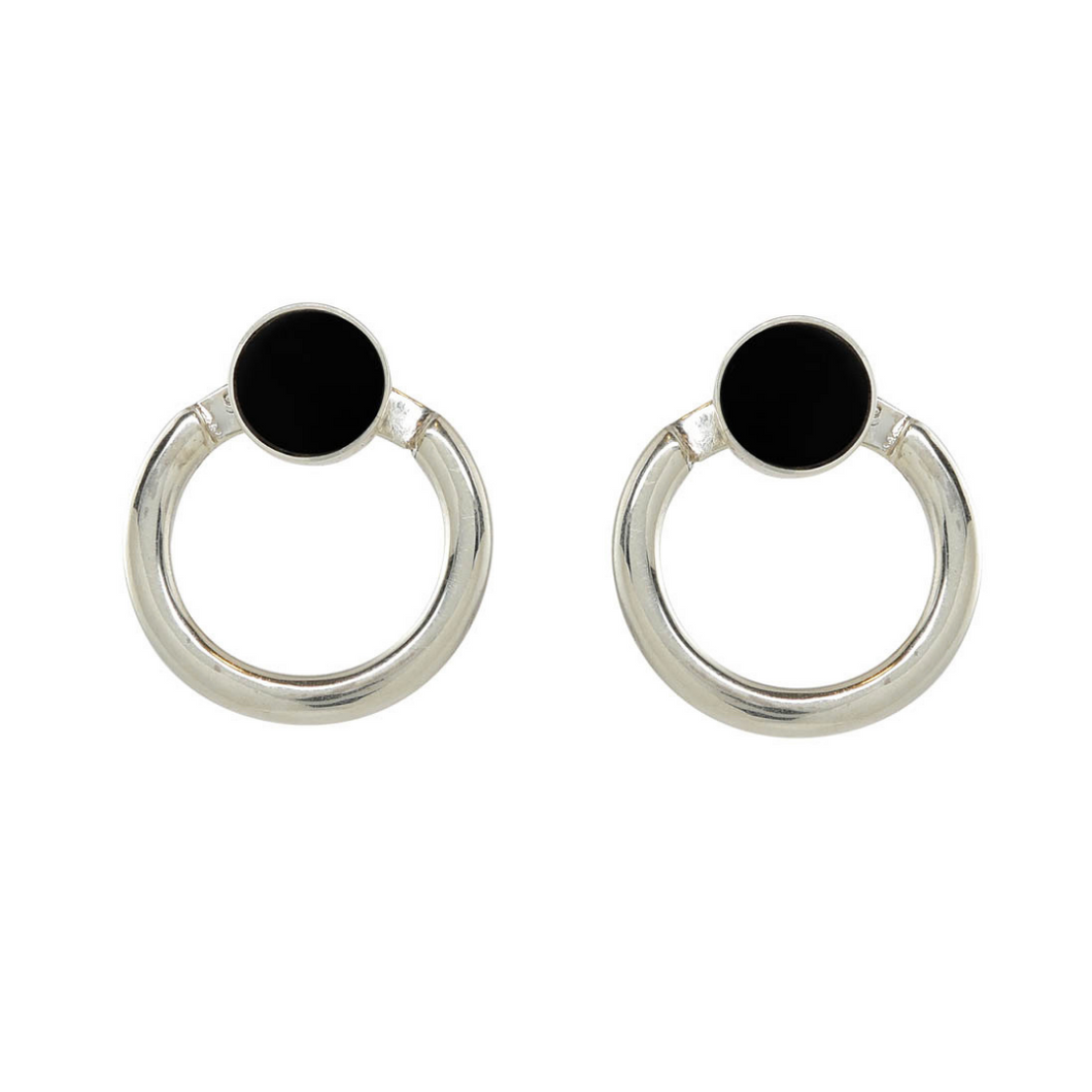 Handcrafted sterling silver earrings with rich jade black facade and back hoop. Can be worn as studs.