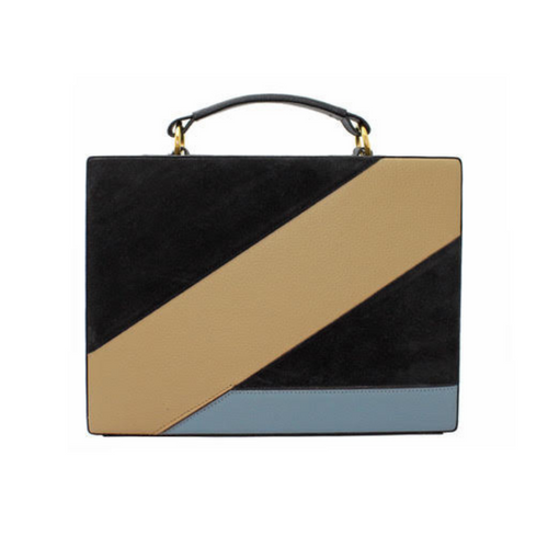 Rectangular handbag with internal suede lining and signature gold plate. Crafted from grained leather with overlapping figures. Single adjustable shoulder strap.