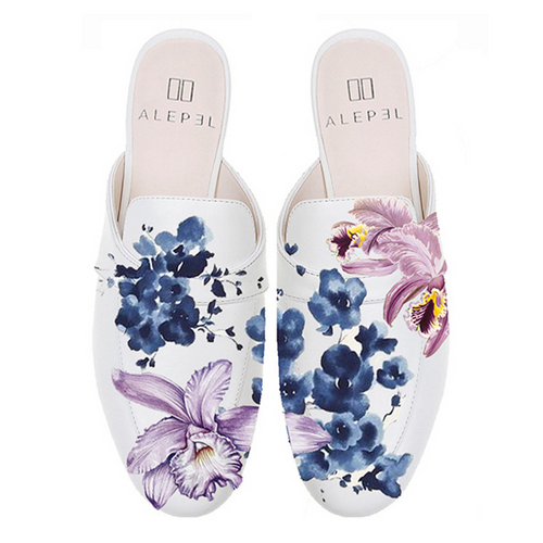 White hand painted mule or slipper with blue flower and violet orchid detail low heel