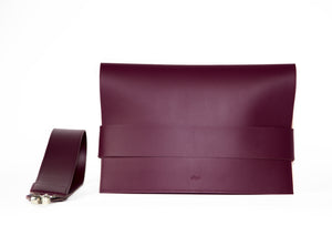 Violet vegan leather clutch with detachable shoulder strap