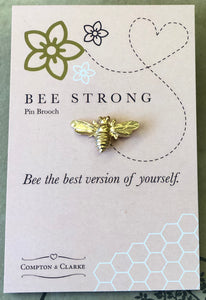 Bee strong pin brooch by Compton & Clarke