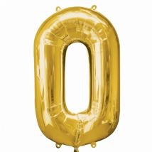Extra large Gold helium filled foil number balloon on weight