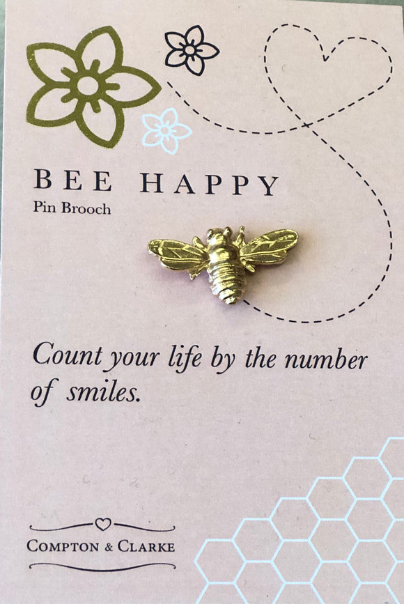"""Bee Happy"" Pin brooch by Compton & Clarke"