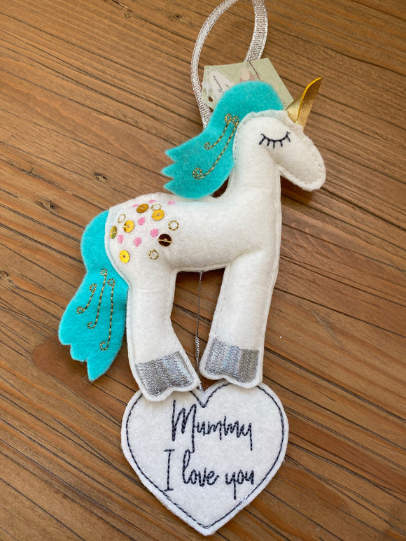 Mummy felt unicorn gift