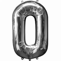 Extra large Silver helium filled foil number balloon on weight