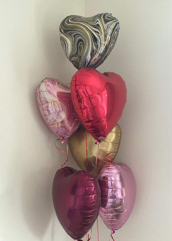 Bouquet of 6 helium filled hearts