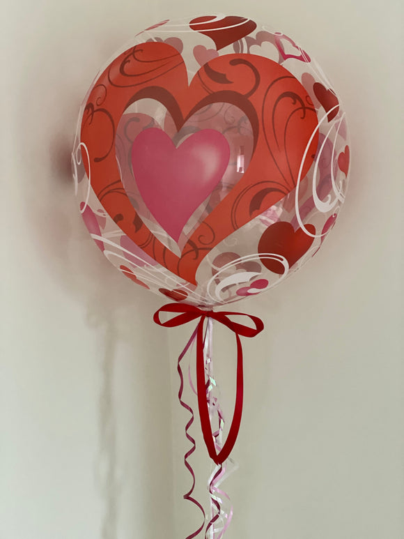 Valentines hearts design clear helium balloon