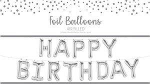 "Air fill ""Happy Birthday"" balloon garland-silver"