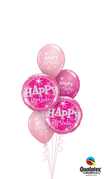 Pink Birthday helium balloon bouquet on a weight