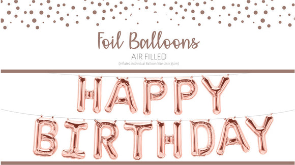 "Air fill ""Happy Birthday"" balloon garland- rose gold"