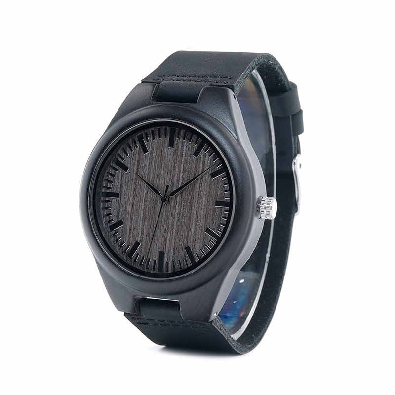 Fashionable Navy Blue Wooden Watch For Men