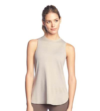 Maaji Exalt Tapioca Layer Tank, tan tank top, women's workout clothes, athleisure