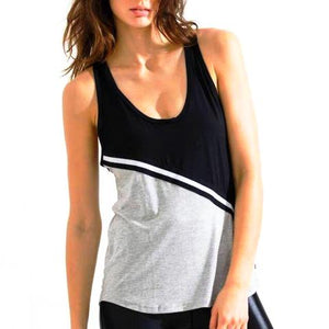 Body Language Sportswear Sivan Tank Grey Black Front View