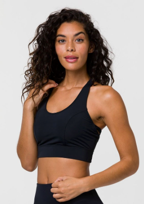 Onzie Warrior Bra in Black, black sports bra with removable pads