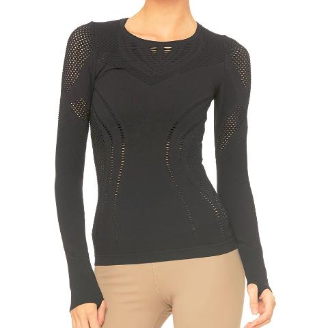 Alo Yoga Lark Long Sleeve Black Front View