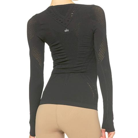 Alo Yoga Lark Long Sleeve Black Back View