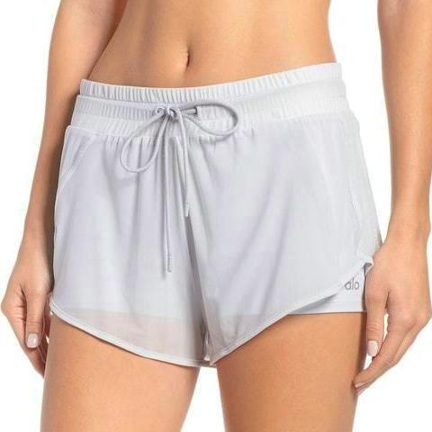Alo Yoga Ambience Shorts Grey Front View