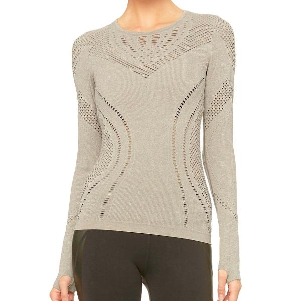 Alo Yoga Lark Long Sleeve Gravel Front View