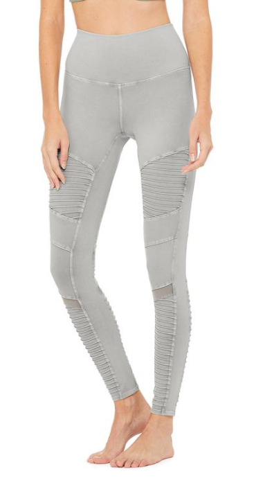 Alo Yoga Wash Moto Legging in lead wash, gray detailed leggings, yoga leggings, athleisure leggings