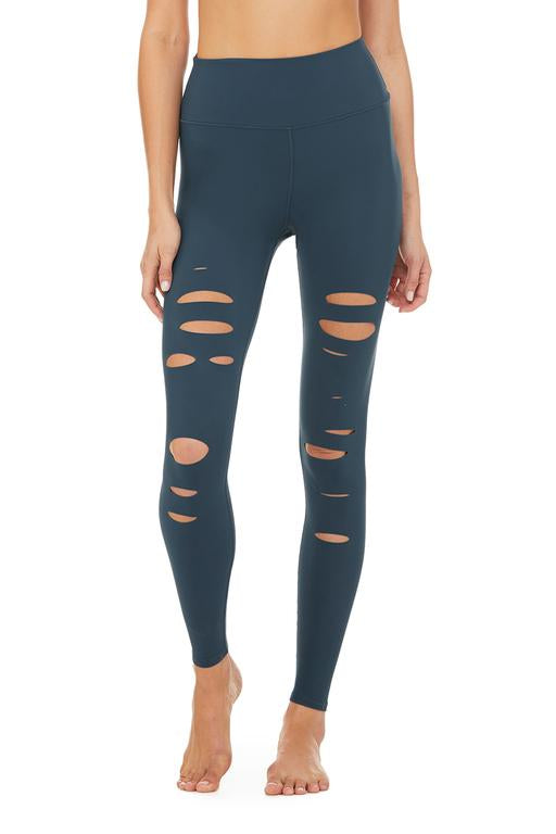 Alo Yoga High-Waist Ripped Warrior Legging Eclipse Front View
