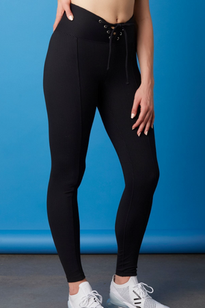 Year of Ours Ribbed Football Leggings in Black