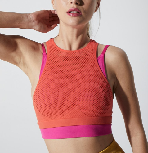 Avocado Mikaela Mesh Double Layer Bra Fiesta & Beetroot Fuchsia Front View