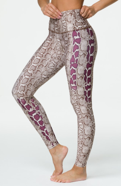 Onzie High Rise Graphic Legging in Vipe, red snake print legging