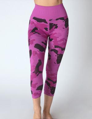 Avocado Camo Capri, Camo Leggings, Pink Leggings, Women's workout clothes, Athleisure