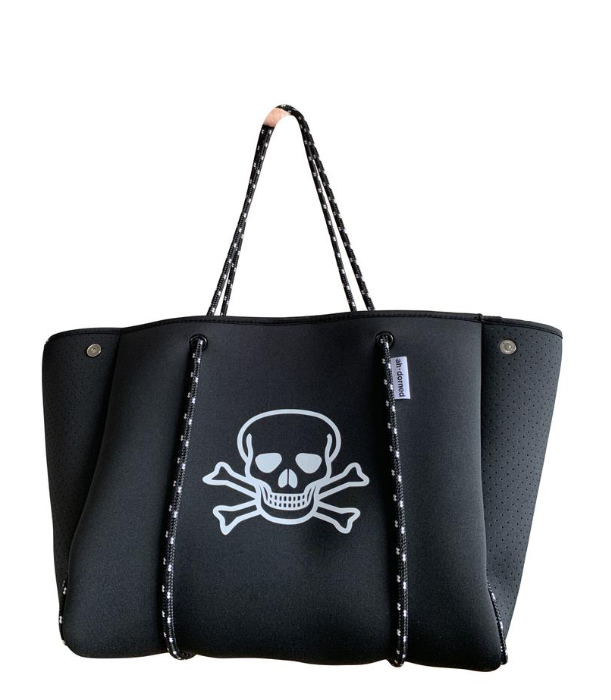 Large Black Neoprene Bag with Skull