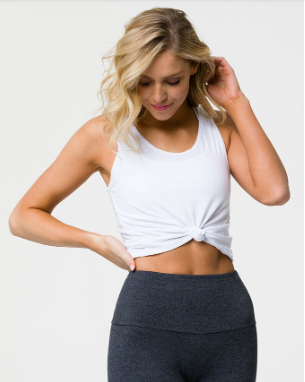 Onzie knot crop top in white, white knot crop top, workout crop top