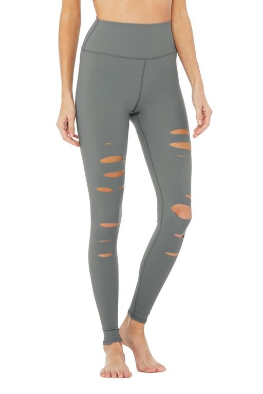 Alo Yoga High-Waist Ripped Warrior Legging Concrete Front View