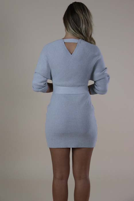Heather Gray Knit Sweater Dress with Belted Tie wrap