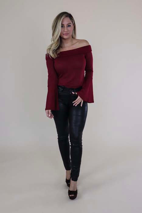 Bell Sleeve Off-the-Shoulder Red Sweater