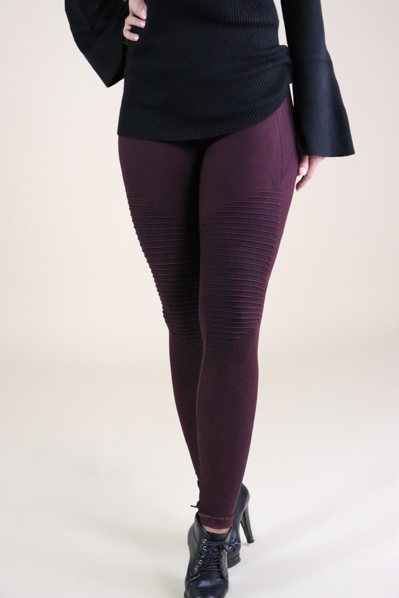 Vintage Moto Leggings in Burgundy