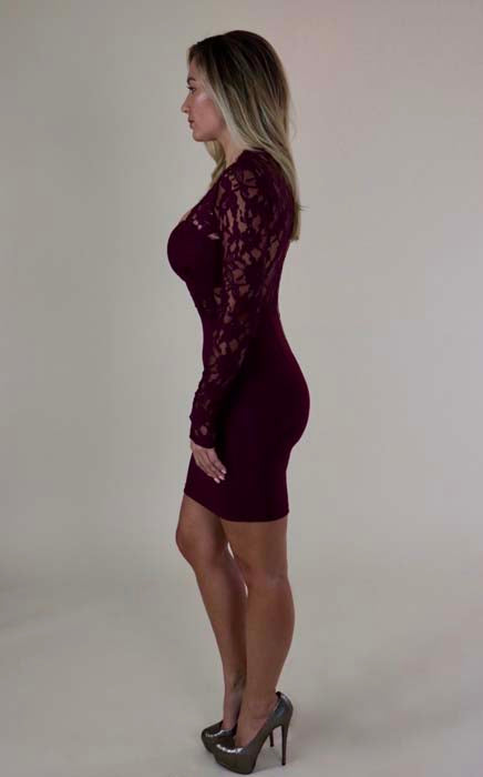 Burgundy Lace Long Sleeve Cocktail Dress