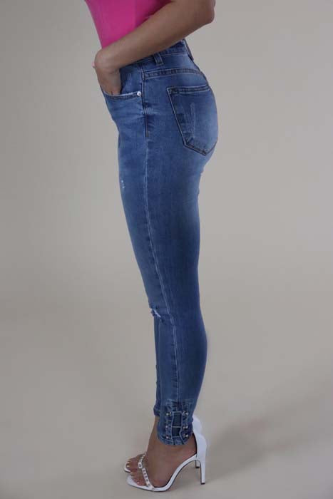 High Waisted Distressed Pin Hem Skinny Jeans